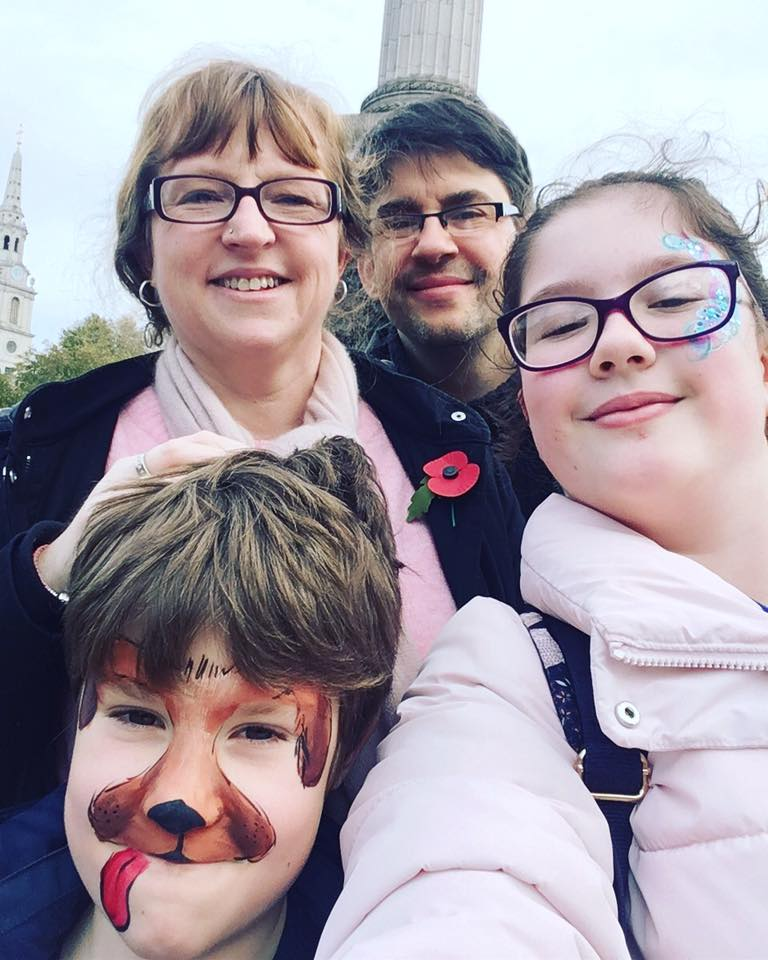 Family selfie with Nelson's Column in London in the background
