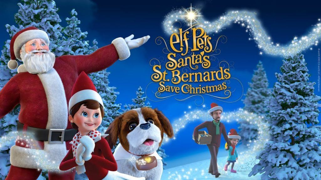 Animated image of father christmas, elf on the shelf and a st bernard puppy in the snow